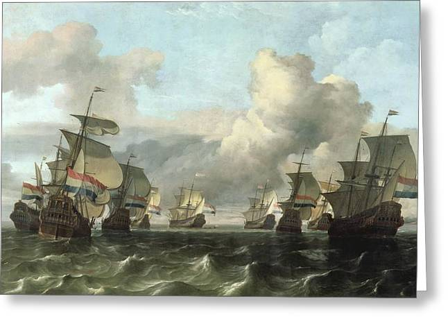Economy Greeting Cards - The Dutch Fleet of the India Company Greeting Card by Ludolf Backhuysen