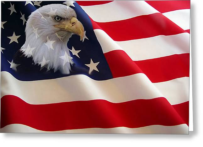 Flags Greeting Cards - The Eagle Flag Greeting Card by Evelyn Patrick