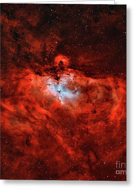 The Eagle Nebula In The Constellation Greeting Card by Rolf Geissinger