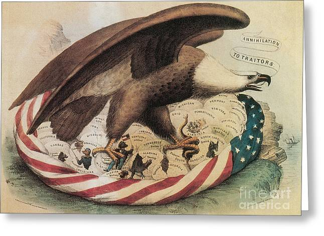 Recently Sold -  - Flag Of Usa Greeting Cards - The Eagles Nest, 1861 Greeting Card by Photo Researchers