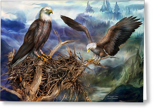 Bird Of Prey Mixed Media Greeting Cards - The Eagles Nest Greeting Card by Carol Cavalaris
