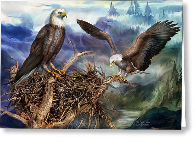 Eagle Mixed Media Greeting Cards - The Eagles Nest Greeting Card by Carol Cavalaris