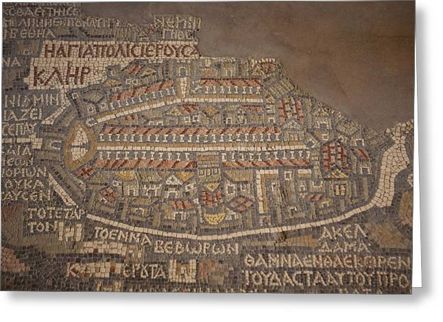 Jordan Greeting Cards - The Earliest Known Map Of The City Greeting Card by Taylor S. Kennedy