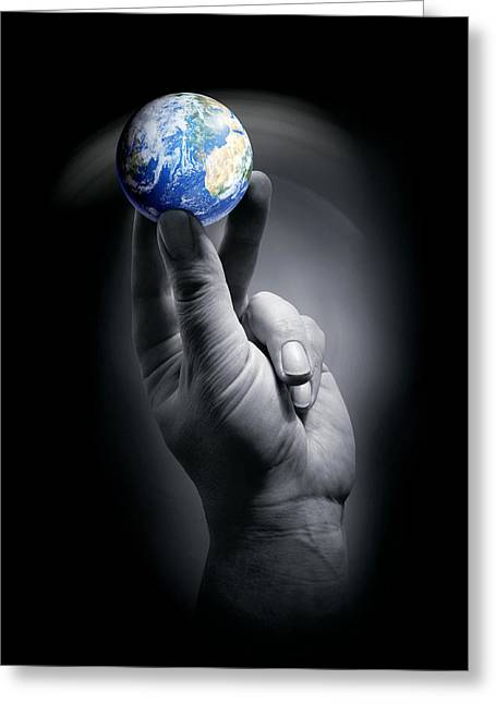 Responsible Greeting Cards - The Earth Held By A Human Hand Greeting Card by Detlev Van Ravenswaay