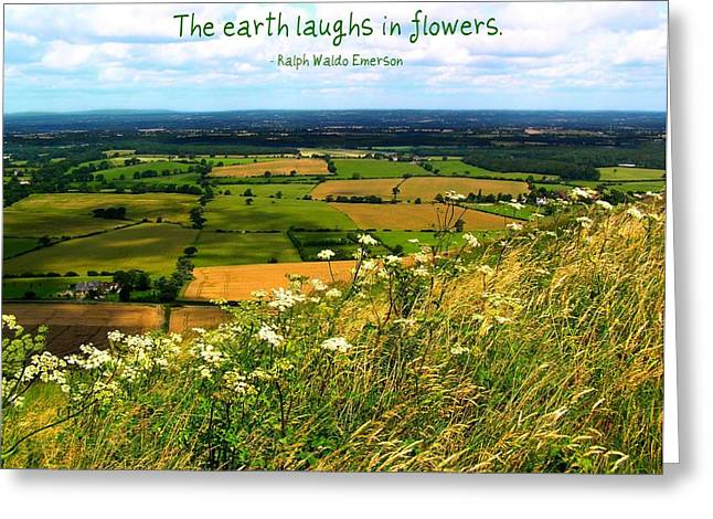 Motivational Poster Greeting Cards - The Earth Laughs in Flowers Greeting Card by Jen White
