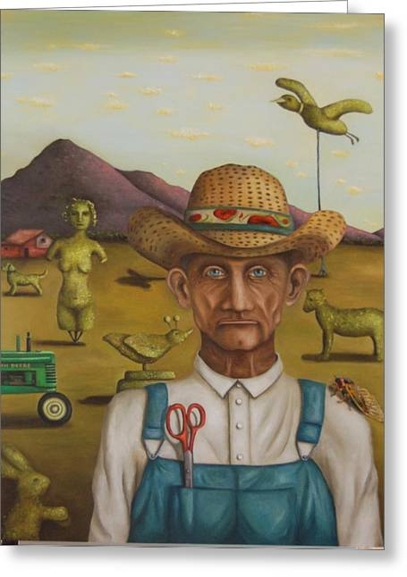 Grant Wood Greeting Cards - The Eccentric Farmer Greeting Card by Leah Saulnier The Painting Maniac