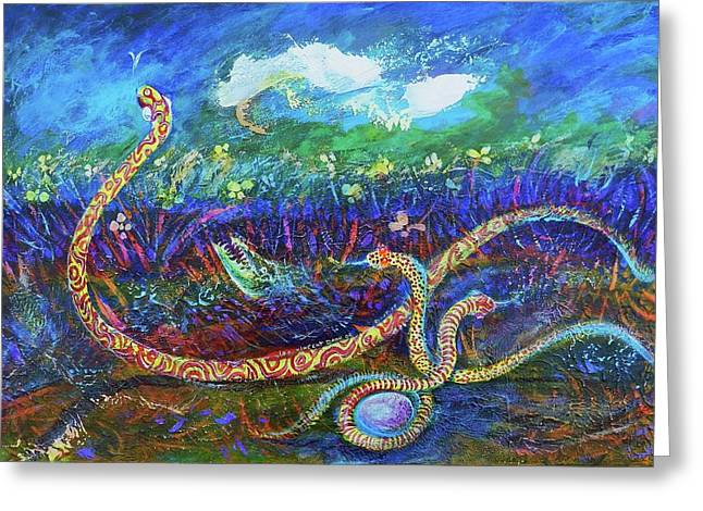 Fantasy World Greeting Cards - The Egg of the Serpent Greeting Card by Ion vincent DAnu