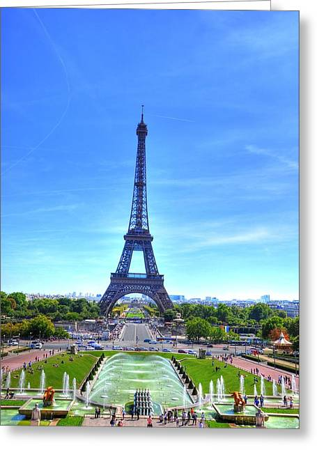 Village By The Sea Digital Greeting Cards - The Eiffel Tower Greeting Card by Barry R Jones Jr