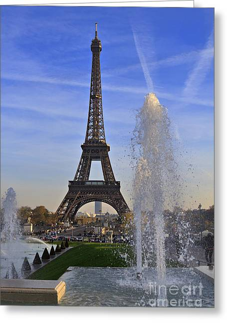 La Tour Eiffel Greeting Cards - The Eiffel Tower from the Jardins de Trocadero Greeting Card by Louise Heusinkveld
