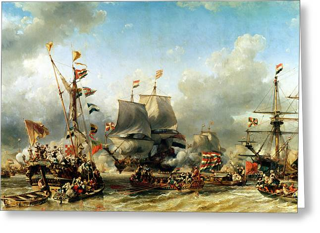 Gabriel Paintings Greeting Cards - The Embarkation of Ruyter and William de Witt in 1667 Greeting Card by Louis Eugene Gabriel Isabey