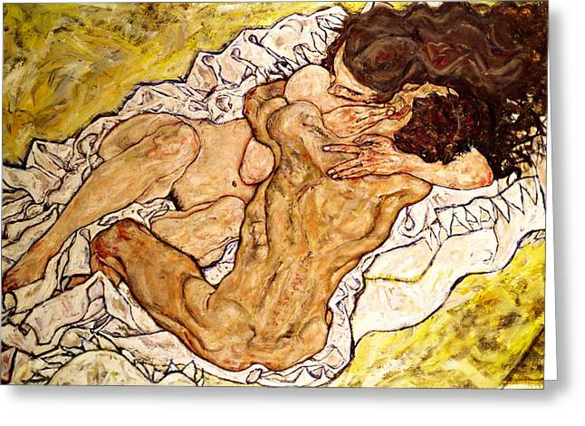 1918 Paintings Greeting Cards - The Embrace Greeting Card by Egon Schiele