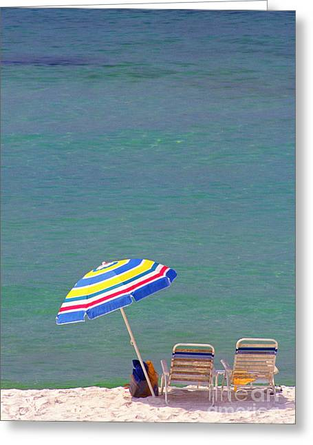 Emerald Coast Greeting Cards - The Emerald Coast with Beach Chairs Greeting Card by Thomas R Fletcher