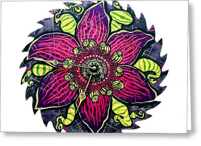 Saw Mixed Media Greeting Cards - The Emory-gold Clock Blossom Greeting Card by Jessica Sornson