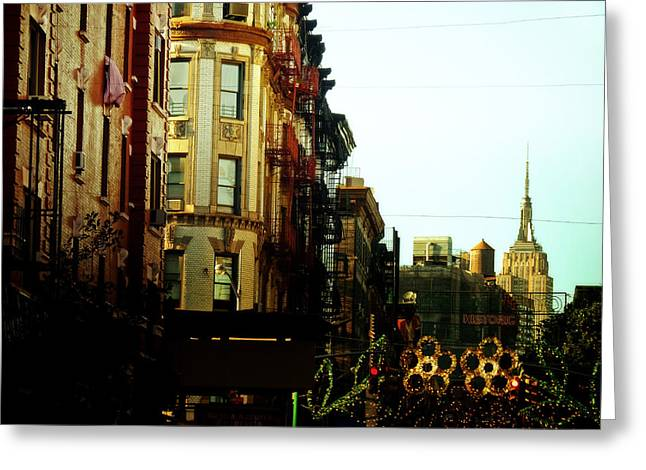 Fire Escapes Greeting Cards - The Empire State Building and Little Italy - New York City Greeting Card by Vivienne Gucwa