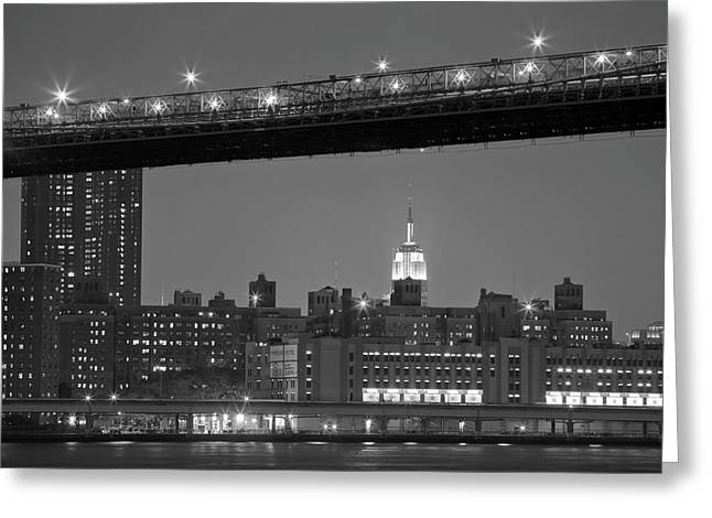 Fdr Drive Greeting Cards - The Empire State Building between the Brooklyn Bridge and the FDR drive Greeting Card by Andria Patino