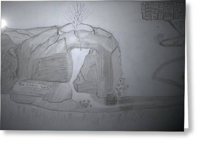 Tomb Mixed Media Greeting Cards - The Empty Tomb Greeting Card by Lucy Mugambi