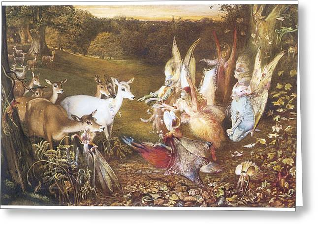 Forest Creature Greeting Cards - The Enchanted Forest Greeting Card by John Anster Fitzgerald