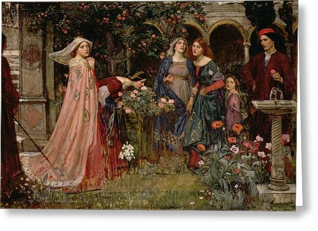 Giovanni Greeting Cards - The Enchanted Garden Greeting Card by John William Waterhouse