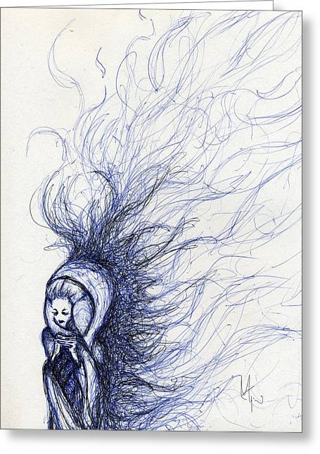 Pen And Ink Drawing Mixed Media Greeting Cards - The End Greeting Card by Mark M  Mellon