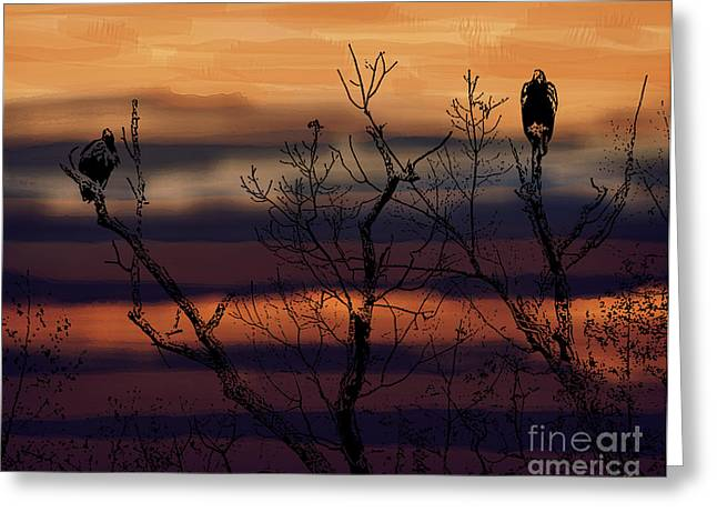 Sunset Greeting Cards Digital Art Greeting Cards - The End of the Day Greeting Card by Gerlinde Keating - Keating Associates Inc