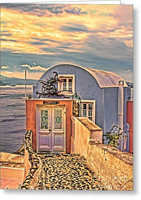 Hdr Effects Greeting Cards - The End Unit Santorini Greece Greeting Card by Tom Prendergast