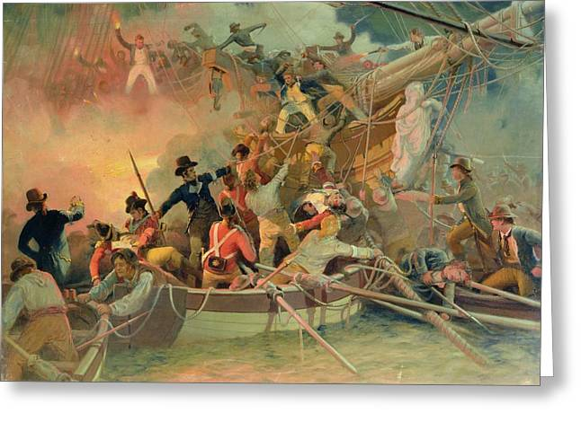 Gunfire Greeting Cards - The English navy conquering a French ship near the Cape Camaro Greeting Card by English School