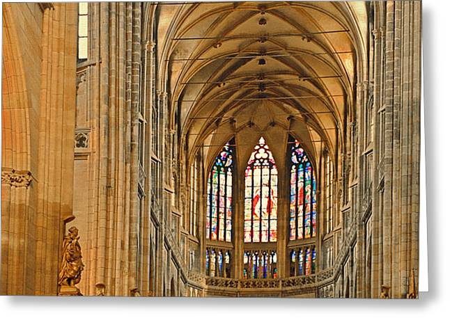 The enormous interior of St. Vitus Cathedral Prague Greeting Card by Christine Till