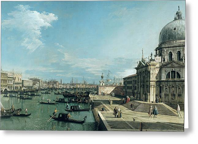1768 Greeting Cards - The Entrance to the Grand Canal and the church of Santa Maria della Salute Greeting Card by Canaletto