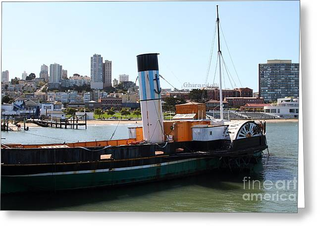 Steamboat Greeting Cards - The Eppleton Hall . A 1914 Steam Sidewheeler Tug Boat At The Hyde Street Pier in SF . 7D14166 Greeting Card by Wingsdomain Art and Photography