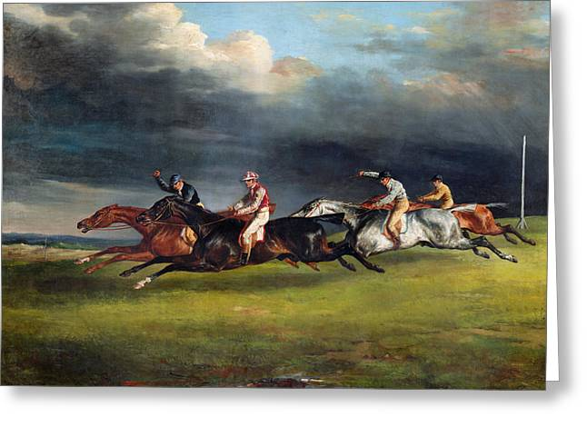 The Horse Greeting Cards - The Epsom Derby Greeting Card by Theodore Gericault