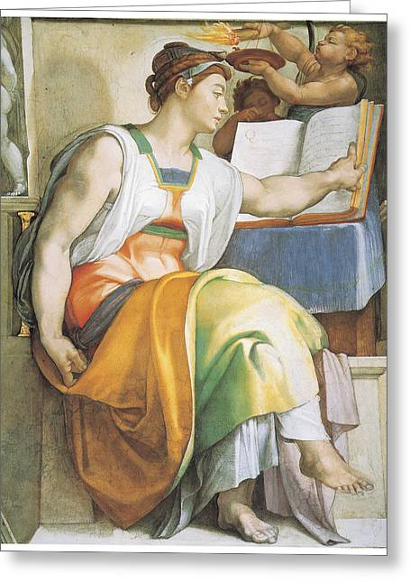 Buonarroti Paintings Greeting Cards - The Erythraean Sibyl Greeting Card by Michelangelo Buonarroti