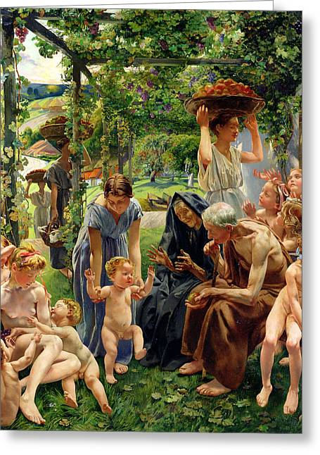 Family Time Greeting Cards - The Evening Greeting Card by Leon Henri Marie Frederic