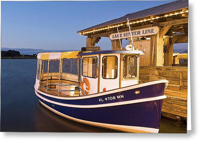 Docked Boat Greeting Cards - The Evening Star Greeting Card by Betty Eich
