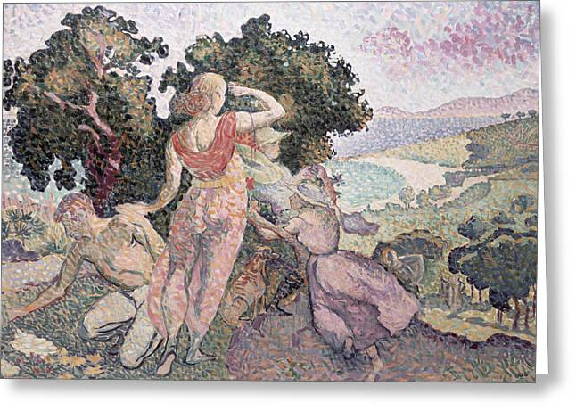 Exploring Paintings Greeting Cards - The Excursionists Greeting Card by Henri-Edmond Cross