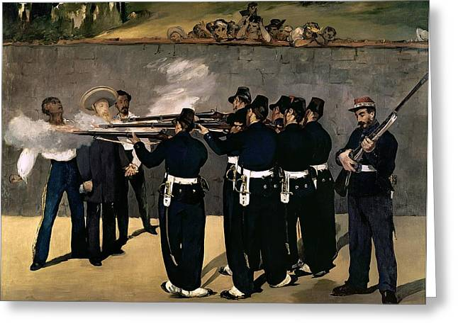 Manet Greeting Cards - The Execution of the Emperor Maximilian Greeting Card by Edouard Manet