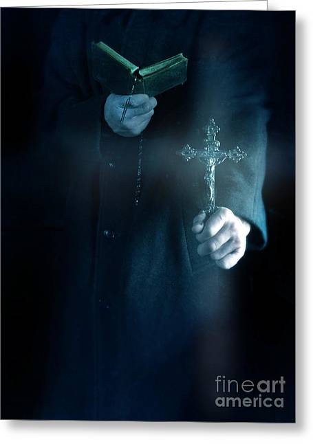 Rosary Greeting Cards - The Exorcist Greeting Card by Jill Battaglia
