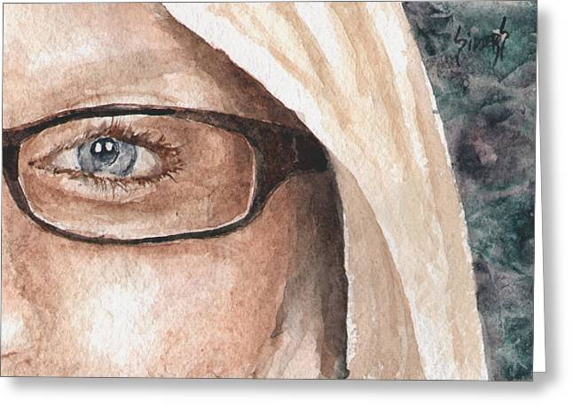 Protrait Greeting Cards - The Eyes Have It - Dustie Greeting Card by Sam Sidders