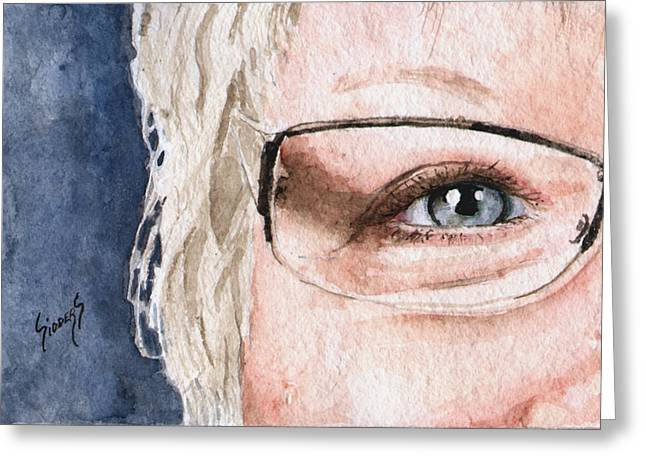 Protrait Greeting Cards - The Eyes Have It - Vickie Greeting Card by Sam Sidders