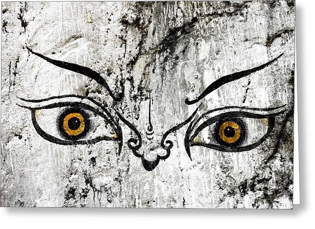 Bhutanese Art Greeting Cards - The eyes of Guru Rimpoche  Greeting Card by Fabrizio Troiani