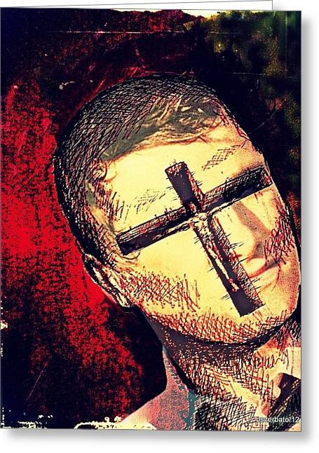 Cover The Pain Greeting Cards - The Face Is Sowing Fertile Shadow Of The Cross Greeting Card by Paulo Zerbato