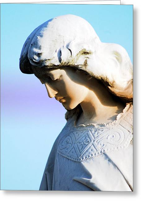Statue Portrait Photographs Greeting Cards - The Face of an Angel Greeting Card by Susanne Van Hulst