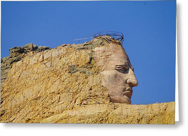 Crazy Horse Photographs Greeting Cards - The Face Of Crazy Horse Greeting Card by Jeff  Swan
