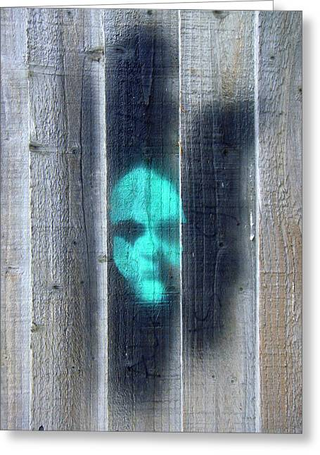Roberto Alamino Greeting Cards - The Face on the Wall Greeting Card by Roberto Alamino