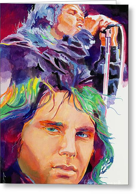 1960 Paintings Greeting Cards - The Faces of Jim Morrison Greeting Card by David Lloyd Glover