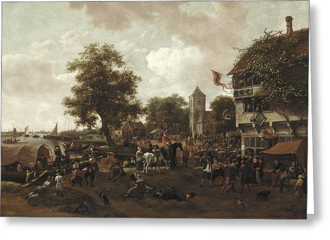 Couple Kissing Greeting Cards - The Fair at Oegstgeest Greeting Card by Jan Havicksz  Steen