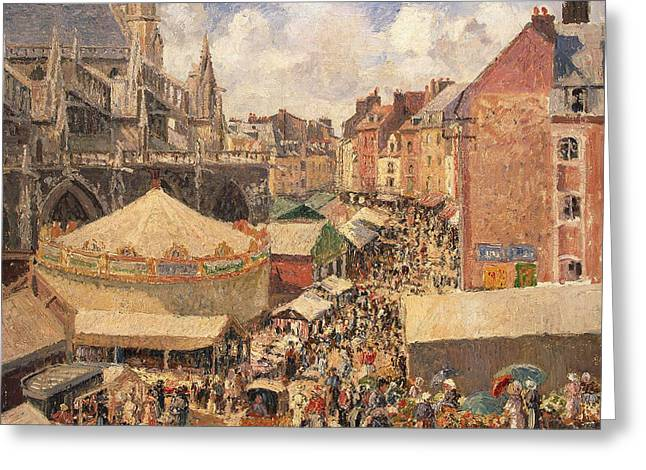 Town Square Greeting Cards - The Fair in Dieppe Greeting Card by Camille Pissarro