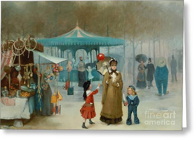 Fairground Greeting Cards - The Fairground  Greeting Card by Henry Jones Thaddeus