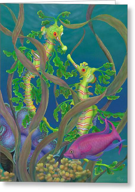 Leafy Sea Dragon Greeting Cards - The Fairy and the Dragons Greeting Card by Marcia  Perry