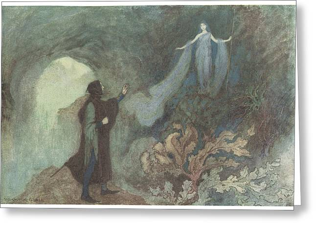 Warwick Paintings Greeting Cards - The Fairy appearing to the Prince Greeting Card by Warwick Goble