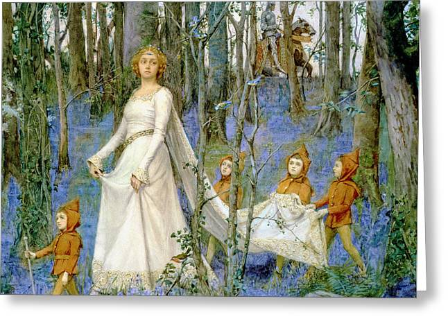 Woodland Scenes Paintings Greeting Cards - The Fairy Wood Greeting Card by Henry Meynell Rheam